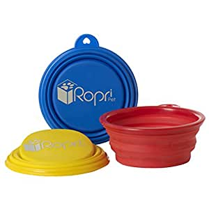 Collapsible Dog Bowl for Dog Food and Water. Foldable, Portable and Food Safe Travel Bowl. The RopriPet Travel Mate Bowl.