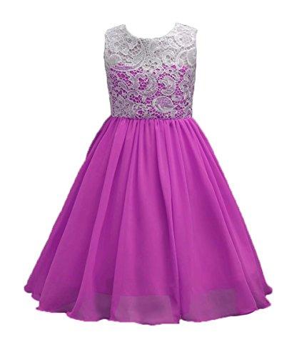 FOUNDO Girls Lace Flower Chiffon Dresses Wedding Princess Ball Gown Purple 140
