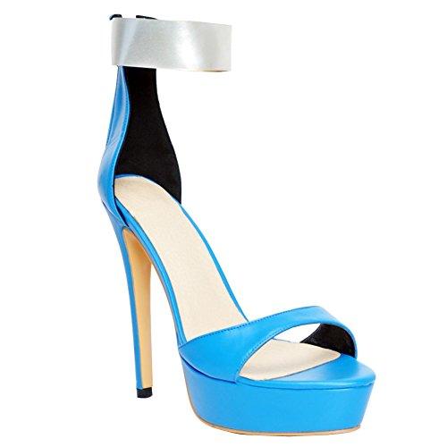 Kolnoo Damen Faschion 140mm geöffnete Zehe Knöchel Bügel hohe Absätze reizvolle Sandelholz Stilett Schuhe Blue