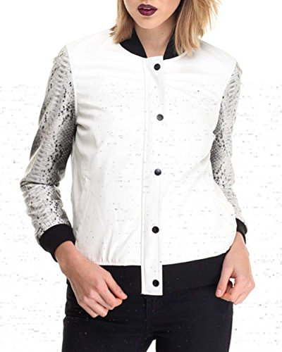 La Belle Roc Vegan Leather Baseball Jacket W/Snake Skin Sleeve, White
