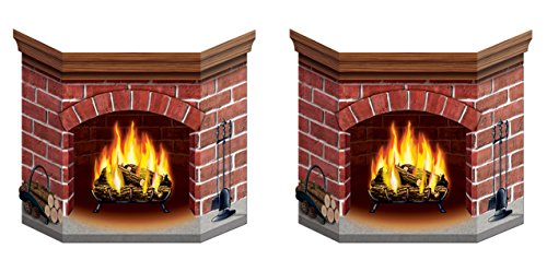 Stand Brick Fireplace (Beistle S22030AZ2 Brick Fireplace Stand-up, Multicolored)