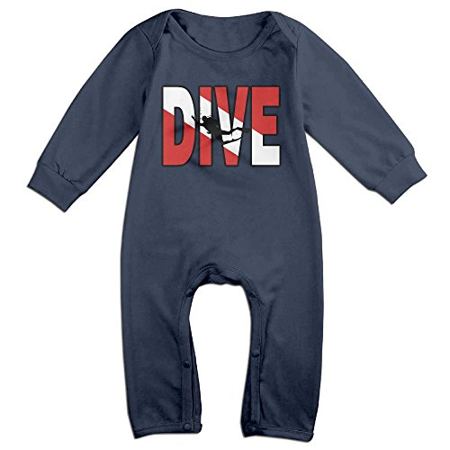 Mri-le1 Newborn Baby Organic Coverall Vintage Distressed Dive Flag Scuba Diving Baby Rompers