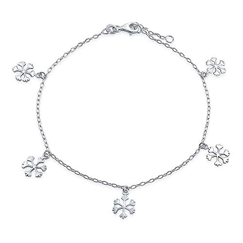 Multi Dangle Charm Winter Snowflake Anklet For Women For Teen Link Chain Ankle Bracelet 925 Sterling Silver 9-10 ()