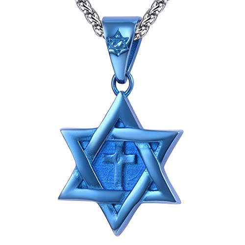 - U7 Cross Star of David Necklace Blue Color Six Pointed Megan Star Pendant Jewish Jewelry with Stainless Steel Chain 22