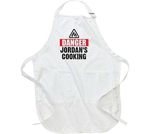 Danger Jordan is Cooking Funny Kitchen Baking BBQ Father's Gift Apron L White by T Shirt Warrior