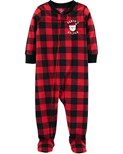 - Carter's 1-Piece PJ's Pajama Santa Buffalo Plaid Fleece Sleeper/Footie 12 Months