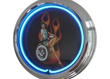 Amazonde Neon Uhr Pin Up Black Wanduhr Deko Uhr Leuchtuhr Usa