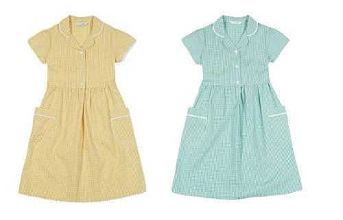 M/&S Marks /& Spencer Girls Gingham School Dress Cotton Uniform YELLOW ~ 7 Years~