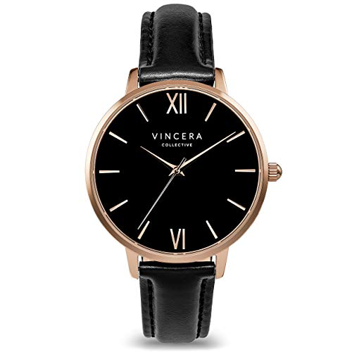 Vincero Luxury Women's Eros Wrist Watch — Rose Gold + Black dial with a Black Leather Watch Band — 38mm Analog Watch — Japanese Quartz Movement