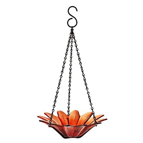 Colored Glass Birdbath, Wild Bird Feeder, 8 in. G292VF Orange Hanging Bird Food Bowl, Decorative Birdseed Dish