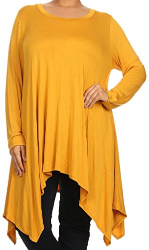 Casual Corner Clothes (BNY Corner Women Plus Size Long Sleeve Asymmetrical Hem Casual Tunic Top Shirt Mustard 3XL (D396 SD))