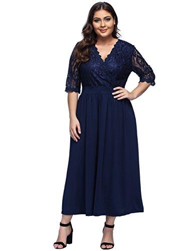 KUREAS Women's Vintage Floral Lace Sleeved Plus Size Cocktail Formal Swing Dress