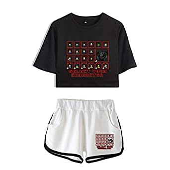 SERAPHY Trendy Television Series Crop Top T-Shirt and Shorts 2 Pieces Set 2019 Newly Cartoon Printed Summer Sports Tracksuit-A14448-1-2XL