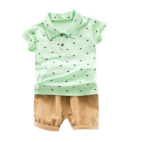 (Shusuen_baby Boy Polo Shirt Sets Short Sleeve Woven Top + Casual Shorts Summer Clothing Outfits Tuxedo Tops Tees Green)