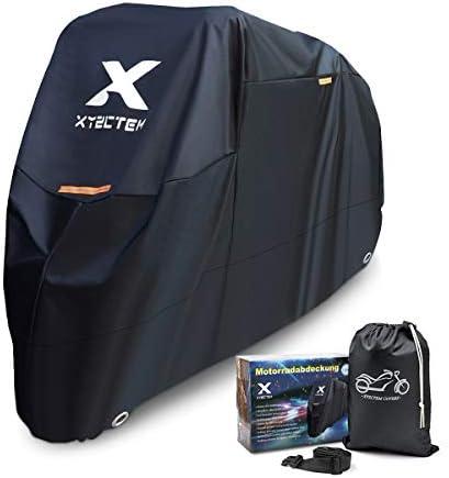 [Gesponsert]XYZCTEM Motorradabdeckung, Wasserdicht Extra Strapazierfähig Dicke 210D Oxford, All Season Outdoor Schutz für Motorräder mit einer maximalen Länge von 265cm