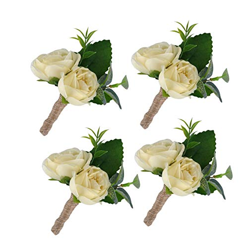 YSUCAU Handcrafted Boutonniere with Pin for Men Wedding, Brooch Bouquet Corsage Classic Artificial Groom Groomsmen Bride Silk Flowers for Wedding Prom Party 4 Pcs (Ivory-4pk)