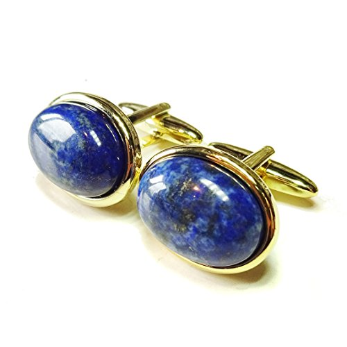 Blue Lapis Lazuli Gold Plated Semi-precious Gemstone Cufflinks