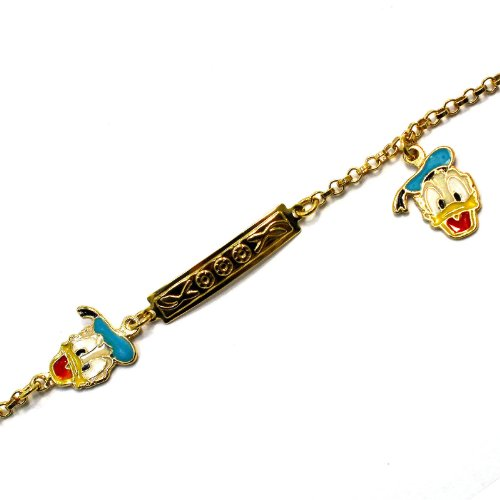 Disney Donald Pendants - BEST OFFER!!! STOCK SALE!!! GD 18k Filled Donald Disney Cartoon Tag Bracelet Girl Charm Duck Enamel in