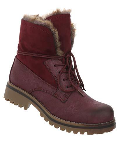 Winterstiefel Weinrot Optik Booties Leder Outdoor Schuhe 42 36 Schnürstiefel Wander Stiefeletten Boots Damen RXO7qw14