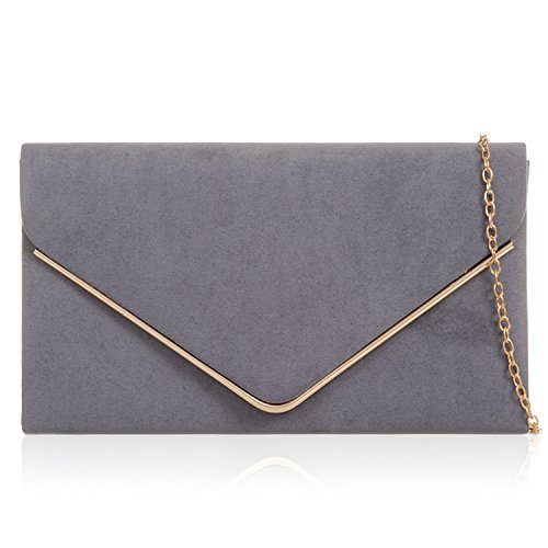 Evening Bags Leather Faux Fossil Suede Prom Xardi Ladies London Grey New Designer Women Envelope Clutch 7vCETqxw