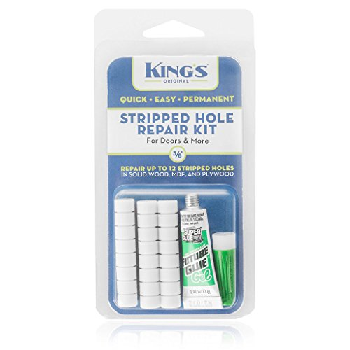 King's Original Stripped Hole Repair Kit for Doors & More | 3/8 Size Natural Color Plastic Dowel System | Permanently Fix Damaged Screw Holes in All Wood -