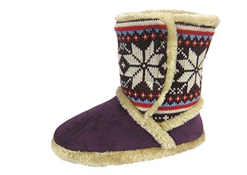 Coolers 078 Mujer Gamuza Sintética de Punto Nórdico Botas Zapatillas Ciruelo Púrpura