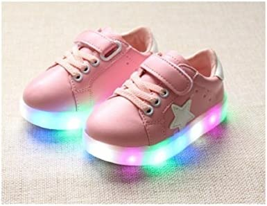 7, Pink Children Shoes LED Light Kids Shoes with light Baby Boys Girls Lighting Sneakers Casual Children Sneakers