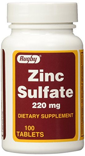 Rugby ZINC SULFATE TABS 220MG -(50MG Active Zinc Sulfate per tablet ) (Pack of (220 Mg Tab)