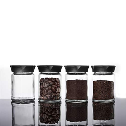 Vevouk 4 stks Spice Storage Potten Set, Mini glazen pot met zwarte deksels 4 stuks voedsel opslag pot keuken bus kleine…