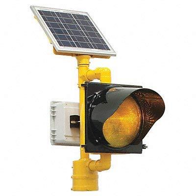 Tapco 2180-BBSAY BlinkerBeacon Solar Flashing Amber Lens LED Beacon, 4-1/2'' OD Pole, Yellow