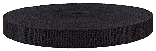 1 Inch Black Heavy Cotton Webbing, Closeout, 10 (1 Cotton Webbing)