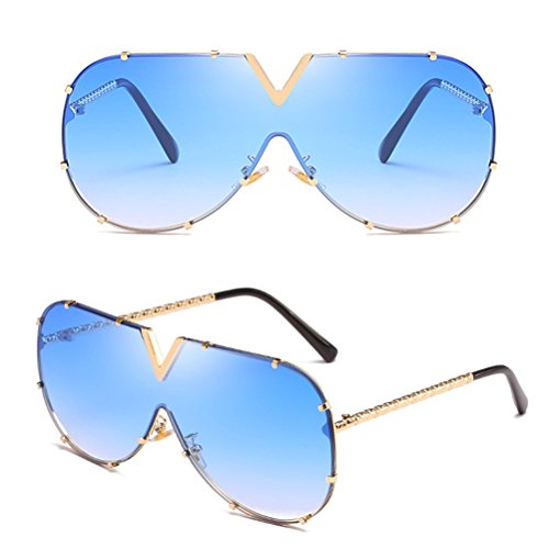 Zhuhaitf Grand Carré Sunglasses Ladies Cadre Mens en Lunettes Armature Lunettes Unisexe pour Sens de Femmes Blue Métal Confort des Hommes et Soleil xd4nqfrFdw
