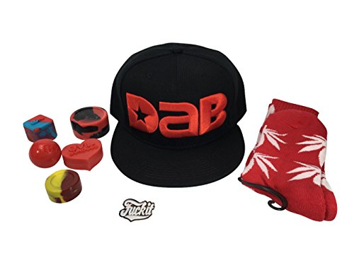 (2018 Official Dab Wizard Combo Red Black Snapback Hat Weed Socks Pin & Silicone Wax Jars)