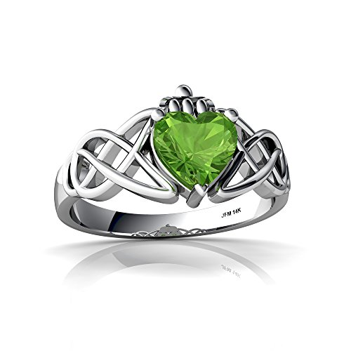 14kt White Gold Peridot 6mm Heart Claddagh Celtic Knot Ring - Size 7.5