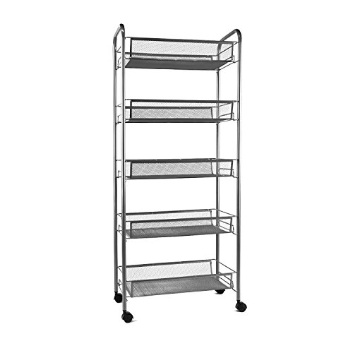 YIMU 5 Tier Mesh Rolling Storage Cart with Basket Shelving Utility Trolley for Office Kitchen Pantry Bathroom Bedroom, Silver by YIMU
