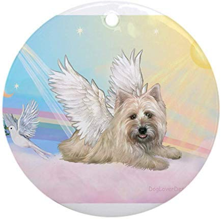 Voicpobo Angel/Cairn Terrier Christmas Ornaments Round Novelty Ceramic Christmas Tree Decoration Ornament Gifts for Friends,for Family