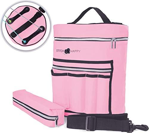 (Stitch Happy Knitting Bag (Pink): 7 Pocket Yarn Bag, Crochet Bag, Yarn Storage, or Crochet Storage)