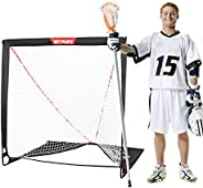 NET PLAYZ 4 x 4 x 4 Feet Lacrosse Goal Fast Install, Fiberglass Frme, Lightweight, Foldable, Portable, Carry B