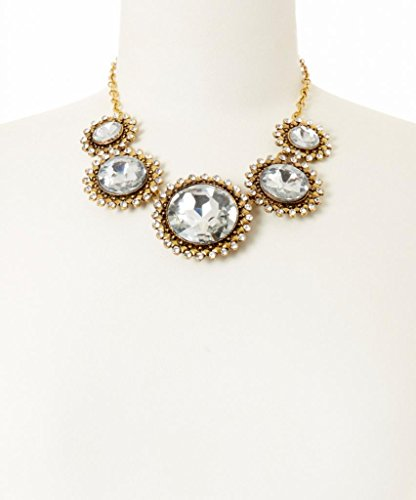 Lux Accessories Gold & Crystal Multi Circle Bib Necklace