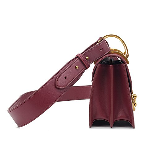 Simple Red Lock Sunbobo Handbag Retro Bag Wine Square Shoulder PU qBBgnxdz