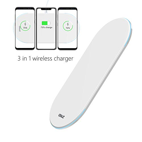 Wireless Charger, 3in1 Charger Stand, Triple Charging Pad, Qi Fast Multi Wireless Charging Docking Station, Charger Base Ultra Slim for iPhone X/8/8 Plus Samsung Galaxy S9/S9+/S8/S8+/S7 all QI-Enabled