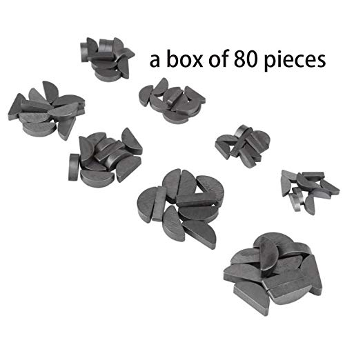 Ants-Store - 80pcs Stainless Steel Key Assortment Set Metric Half Moon Shaft Drive Fasteners Mechanical Industry Different Sizes