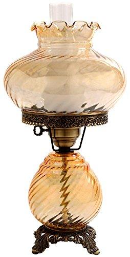 Amber Hurricane - Amber Swirl Optic Shade Night Light Hurricane Table Lamp