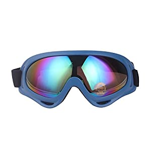 Minalo UV Protection Outdoor Sports Ski Glasses CS Army Tactical Military Goggles Windproof Snowmobile Bicycle Motorcycle Protective Glasses Ski Goggles (Blue)