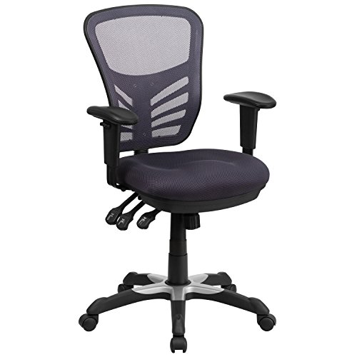 Flash Furniture Mid-Back Dark Gray Mesh Multifunction Executive Swivel Chair with Adjustable Arms