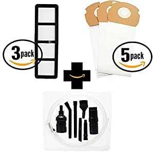 15 Replacement AS Vacuum Bags 68155 & 3 EF-6 Filter 69963 with 7-Piece Micro Vacuum Attachment Kit for Eureka - Compatible with Eureka AirSpeed AS1000A, Eureka AS1000A, Eureka AS1001A, Eureka AS1051A, DCF-21 Dust Cup Filter, Eureka AS1050, Eureka AS1053AX, Eureka AirSpeed Gold AS1001A, Eureka AirSpeed AS1050, Eureka AirSpeed AS1051A