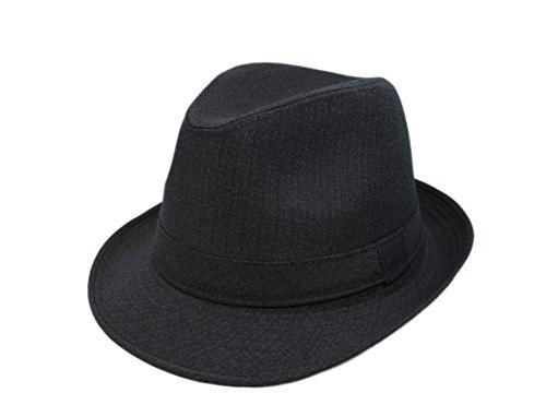 Acvip in cotone Cappello da Panama Tessuto viaggio nero Uomo feste per Donna Fedora rwaUYxrBqR