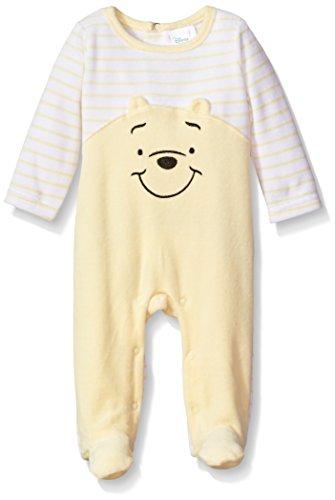 Disney Baby Boys' Winnie The Pooh Velour Footie Sleeper, Pale Banana, 0-3 Months