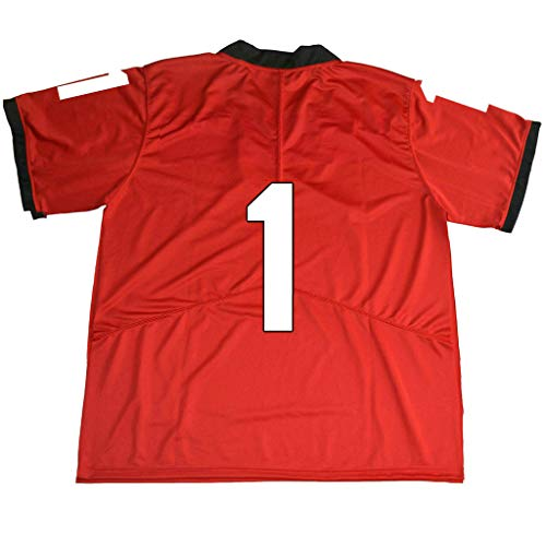 yicana Red UGA Jersey Stitched #1 Without Name (Medium)