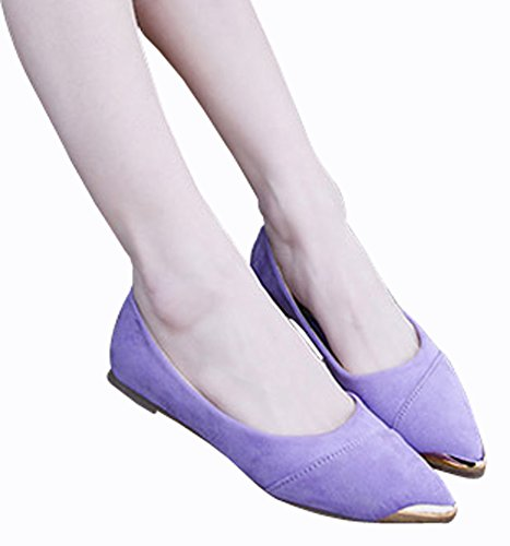 Flats Women's WSKEISP Pointed Metal Boats Decoration Bowknot Purple Shoes Toe rrUdYq
